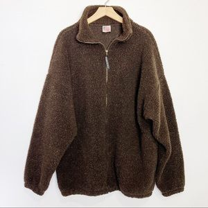 Vintage Sherpa teddy fleece zip up sweater brown